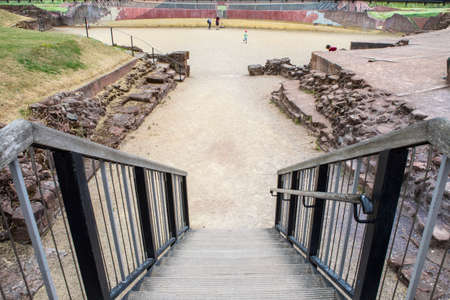 Chester, UK - August 2nd 2018: A view of the remains of the Roman Amphitheatre in the historic city of Chester, in Cheshire, UK.