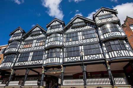 Chester, UK - August 2nd 2018: The beautiful architecture of the Grosvenor Shopping Centre on Bridge Street in the historic city of Chester in Cheshire, UK. Editorial