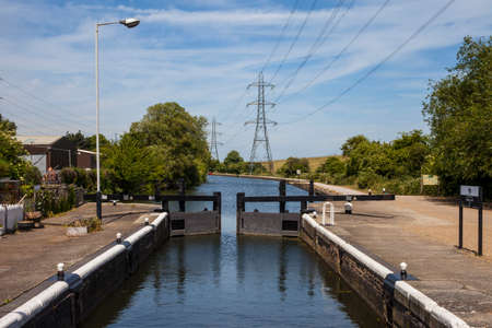 A view of Picketts Lock on the River Lee Navigation in London. Stock Photo