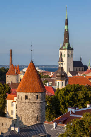 The stunning panoramic views from Toompea Hill looking over the historic city of Tallinn in Estonia.