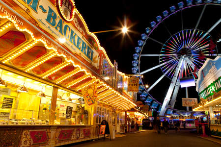 Hamburg, Germany - August 23rd 2011: A view inside the Dom Fun Fair in the city of Hamburg, Germany. Editorial