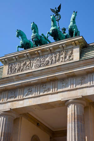 A view of the stunning Brandenburg Gate in the historic city of Berlin in Germany. Фото со стока