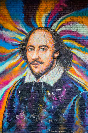 London, UK - April 1st 2019: A graffiti artwork of famous playwright William Shakespeare in central London, UK.