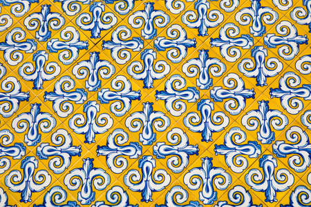 The beautiful tiles on the facade of the Central Market of Valencia, also known as Mercat Central, or Mercado Central, in the city of Valencia in Spain.