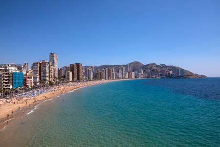 Levante Beach viewed from the viewing platform at Placa del Castell in Benidorm, Spain.