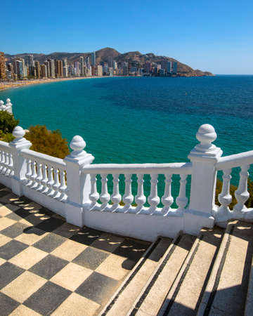 Levante Beach viewed from the viewing platform at Placa del Castell in Benidorm, Spain. Stok Fotoğraf