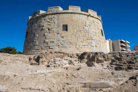 A view of the historic Castillo de Moraira, or Castle of Moraira, located in the coastal town of Moraira in the Costa Blanca region of Spain.