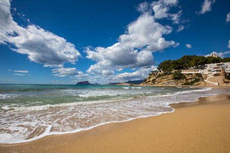 The view from El Portet Beach, also known as Playa del Portet or Cala El Portet in Moraira, the Costa Blanca region of Spain.