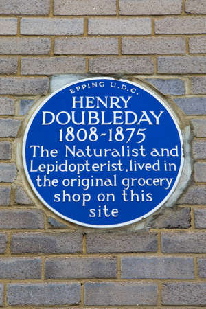 Essex, UK - May 18th 2019: A blue plaque in the town of Epping, commemorating famous Naturalist and Lepidopterist Henry Doubleday - who once lived on the site.