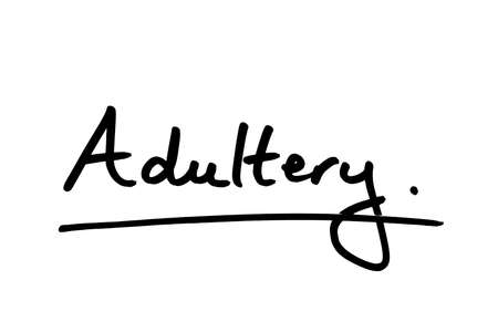 Adultery handwritten on a white background. 写真素材