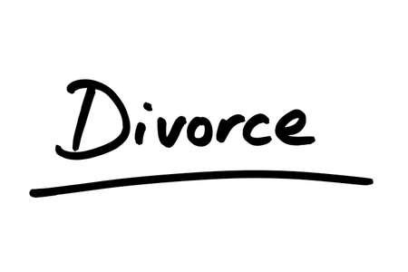 Divorce handwritten on a white background.