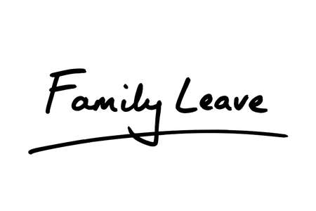 Family Leave handwritten on a white background. Archivio Fotografico