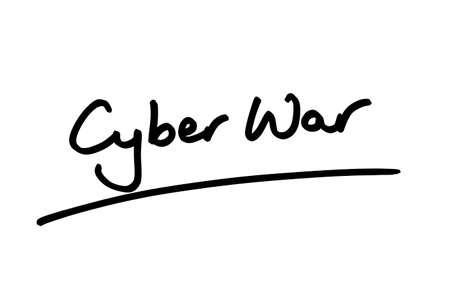 Cyber War handwritten on a white background. Banco de Imagens