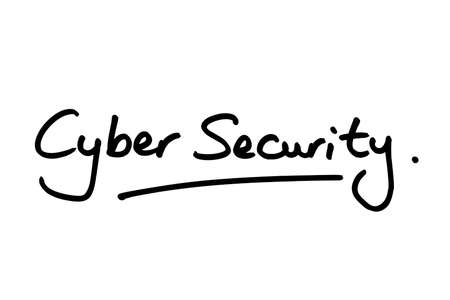 Cyber Security handwritten on a white background.