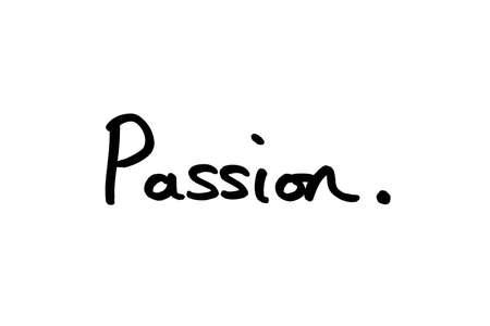 The word Passion handwritten on a white background. Standard-Bild