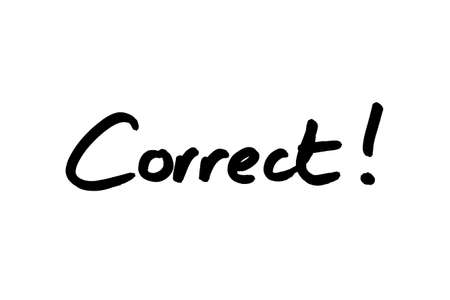 The word Correct! handwritten on a white background.