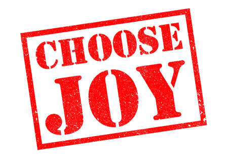 CHOOSE JOY red rubber stamp over a white background.