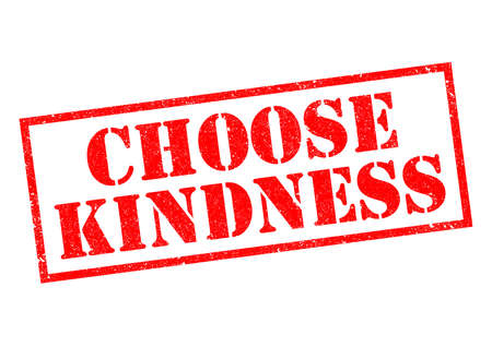 CHOOSE KINDNESS red rubber stamp over a white background.