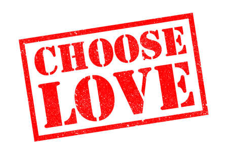 CHOOSE LOVE red rubber stamp over a white background.