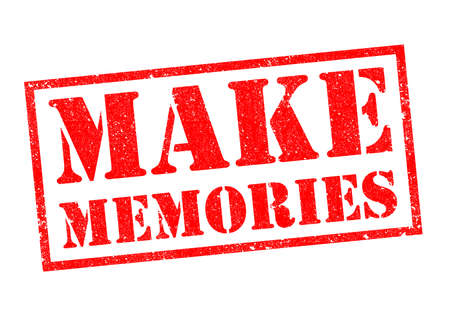 MAKE MEMORIES red Rubber Stamp over a white background.