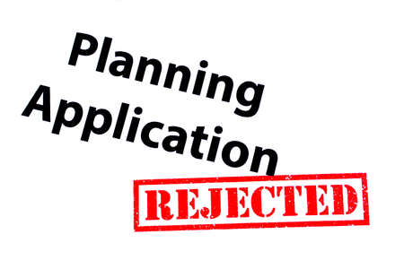 Planning Application heading with a red REJECTED rubber stamp.