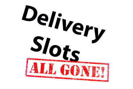 Delivery Slots heading with a red ALL GONE! rubber stamp. Фото со стока - 146386418