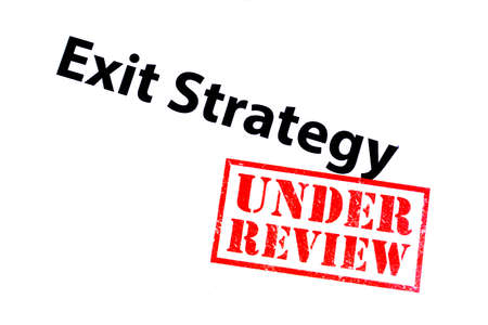 Exit Strategy heading with a red UNDER REVIEW rubber stamp. Imagens