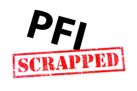 PFI heading with a red SCRAPPED rubber stamp. Archivio Fotografico