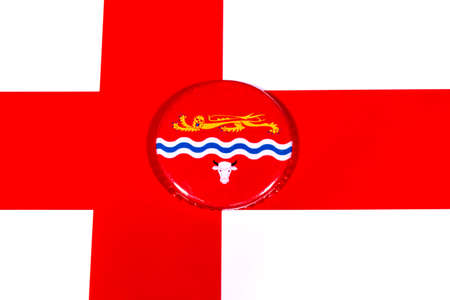 A badge portraying the flag of the English county of Herefordshire pictured over the England flag.