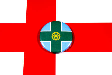 A badge portraying the flag of the English county of Derbyshire pictured over the England flag.
