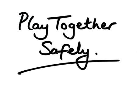 Play Together Safely handwritten on a white background. Stockfoto