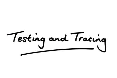 Testing and Tracing handwritten on a white background.