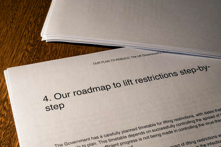 London, UK - May 11th 2020: Our Roadmap to Lift Restrictions heading in the document Our Plan To Rebuild - the UK Governments COVID-19 recovery strategy. Editorial