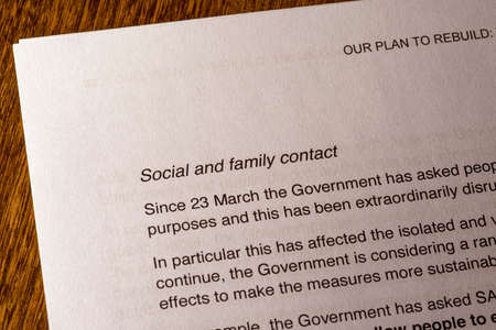 London, UK - May 11th 2020: Social and Family Contact heading in the document Our Plan To Rebuild - the UK Governments COVID-19 recovery strategy. Editorial
