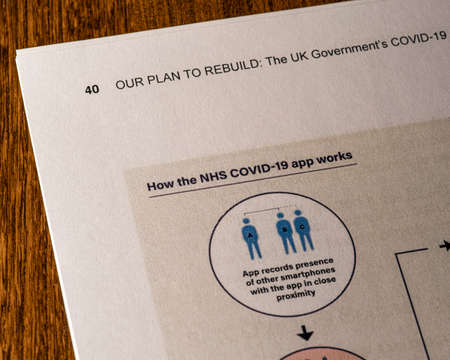 London, UK - May 11th 2020: How the NHS COVID-19 App Works heading in the document Our Plan To Rebuild - the UK Governments COVID-19 recovery strategy.
