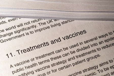 London, UK - May 11th 2020: Treatments and Vaccines heading in the document Our Plan To Rebuild - the UK Governments COVID-19 recovery strategy.