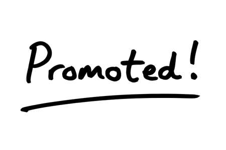 Promoted! handwritten on a white background.