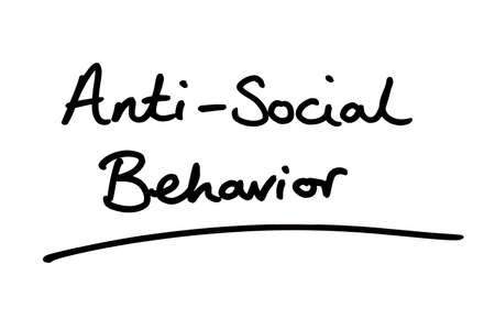 Anti-Social Behaviour handwritten on a white background.
