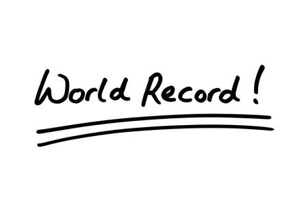 World Record! handwritten on a white background. Standard-Bild
