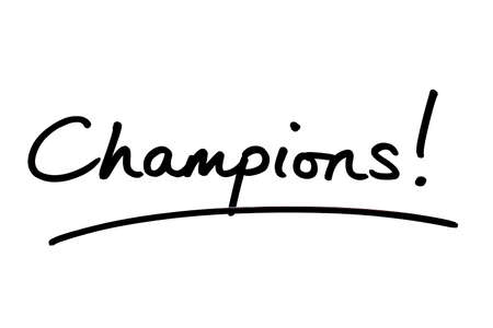 Champions! handwritten on a white background.