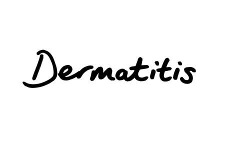 Dermatitis handwritten on a white background.