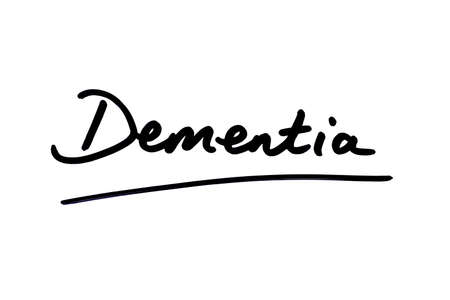 Dementia handwritten on a white background. Standard-Bild