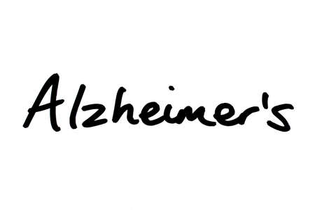 Alzheimers handwritten on a white background. Standard-Bild