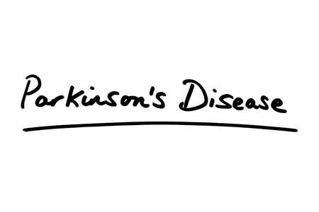 Parkinsons Disease handwritten on a white background.