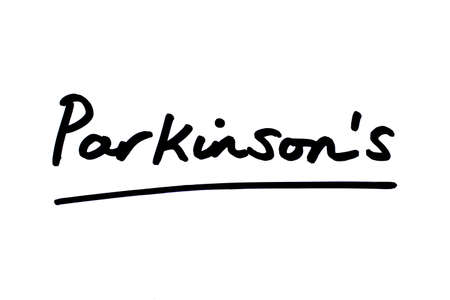 Parkinsons handwritten on a white background.