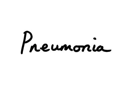 Pneumonia handwritten on a white background.