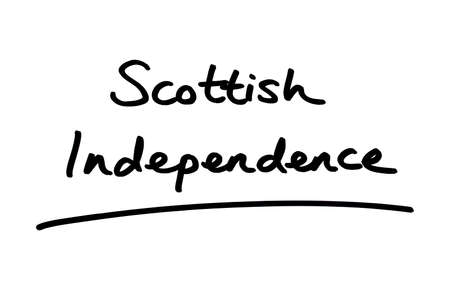Scottish Independence handwritten on a white background. Standard-Bild