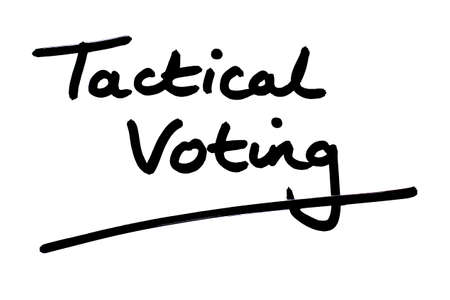 Tactical Voting handwritten on a white background.