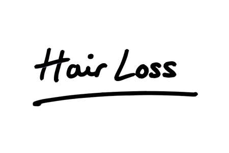 Hair Loss handwritten on a white background.