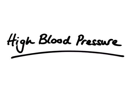 High Blood Pressure handwritten on a white background. Standard-Bild